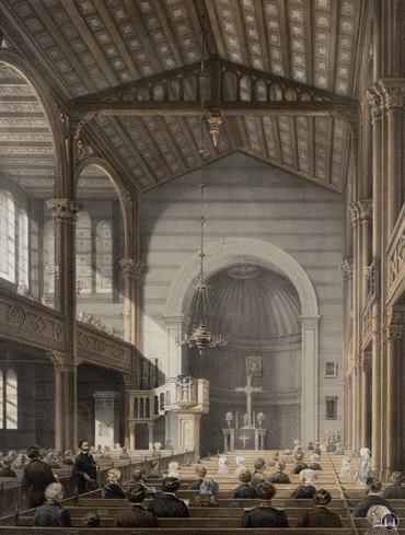 Blick ins Innere der St. Matthäuskirche, 1851