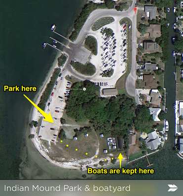 an annotated Google map image of the boatyard and park