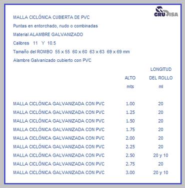 MALLA CICLÓNICA (CICLÓN) CUBIERTA PVC TABLA DE ESPECIFICACIONES