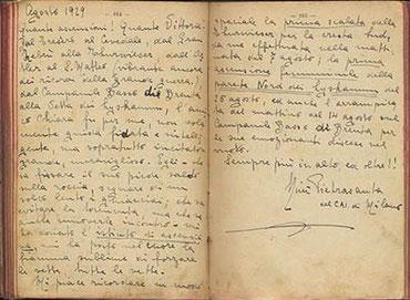 il diario di Nini, del1'estate 1929 con annotate le salite nella zona dell'Ortles