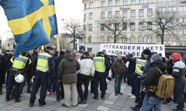 Racistisk demo i Stockholm, lørdag d. 30 januar 2016