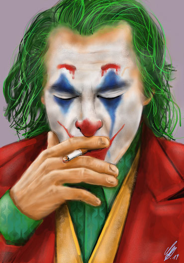 "Joaquin Phoenix ""The Joker"", digital painting, procreate, 2019"