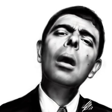 "Mr. Bean ""What was the question again?"" digital painting, procreate, 2019"