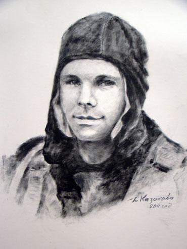 Гагарин в шлеме, сухая кисть