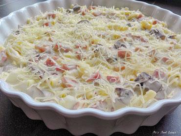 macaroni met champignons en eitjes