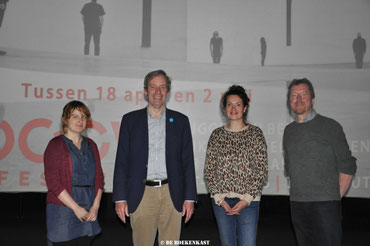 vlnr: Julie Mortier, burgemeester Lieven Dehandschutter, Mieke Vasseur en Yves Elegeert