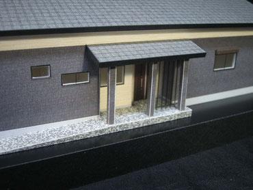 住宅模型の玄関ポーチ周りの拡大画像