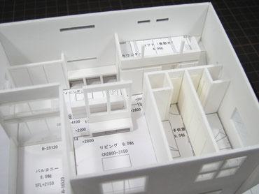 住宅模型のリビング周りの拡大画像