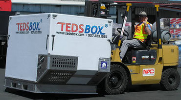 TEDSBox is forklift able from two sides and interfaces with standard pallet  /  company courtesy