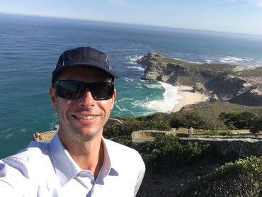 Clive De Bruyne at Cape Point with the Cape of Good Hope in the background
