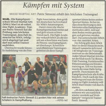 Zeitungsartikel Patric Simeoli MMA Fullinstractor