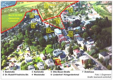 """Der """"Lotzdorfer Zacken"""", hier im Luftbild grün unterlegt, ragt weit in die Radeberger Gemarkung hinein."""