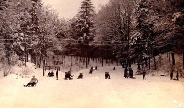 Rodelbahn Talmühle 1909 - am Auslauf