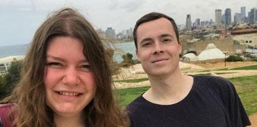 Die Jugendleiter Anna Bundt und Darian Harff vom Stadtjugendring Buxtehude während ihres letzten Israel-Aufenthalts im März. Foto: SJR