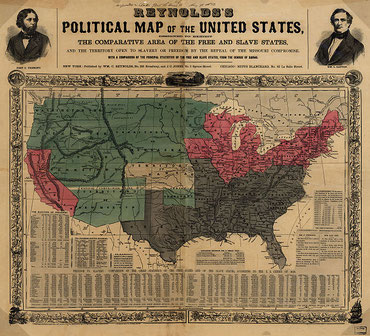US map 1856 shows free and slave states and populations