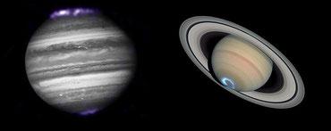 Les aurores aux pôles de Jupiter et Saturne visibles en UV