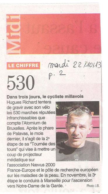 midi libre, Atomium, montée en vélo, hugues richard