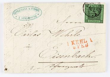 Bief von Oppermann & Strohl an den Uhrenhändler Karl Wehrle in Eisenbach, 9. Feb. 1855, Briefmarke: 3 Kreuzer Baden Nr. 6