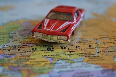 Landkarte Europa mit Auto