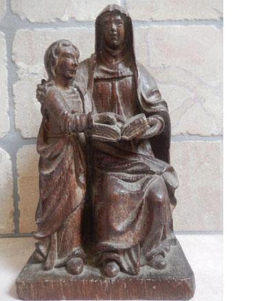 statue de saint anne et de la vierge marie en bois sculpté