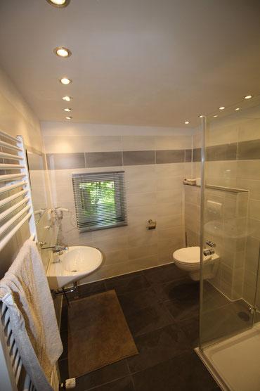 WC, Waschbecken und Fenster im Badezimmer
