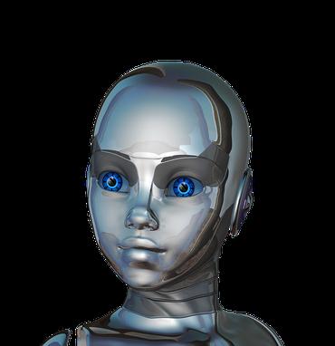 Robot-femelle aux yeux bleus dotée d'une intelligence articielle
