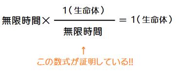 無限時間×無限時間分の1(生命体)=1(生命体)