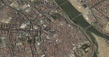 Vista aérea de Badajoz desde Google Maps (2014).