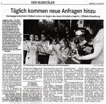 Die Einweihung der Ganztagesschule im BT Nr. 139, 21.6.2010
