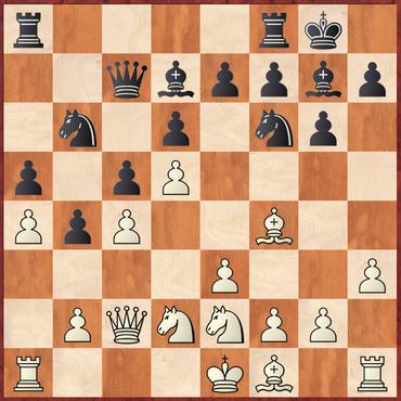 Winkler - Margenberg: Weiß zog hier das schwache 15.b3? wonach Schwarz mit 15. ... Sfd5! Material gewann
