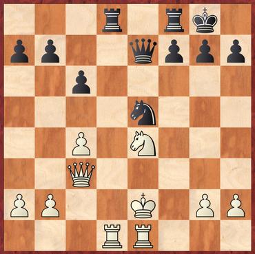 Rode - Hein: Weiß spielte hier 19.Kf1? Was es Schwarz erlaubt die Türme zu tauschen und mit 20. ... Sg4 den Umstand auszunutzen dass der weiße Springer ungedeckt ist und somit Material zu gewinnen.