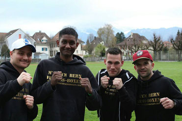 Bernie Pulfer (Co-Trainer), Swissan, Simon, Marco Spath (Chef-Trainer) 1.04.2017 Thun, DEBUT Amateurboxen - AOB von Swissan&Simon (BOXING TEAM ITTGEN )