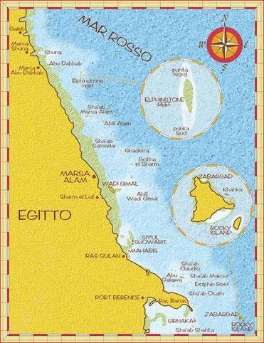 La parte nord della crociera con l'isola di Zabargad