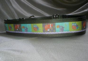 Halsband, Hund, Martingale, 4cm breit, mit Borte, Waldtiere