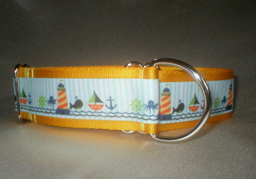 Halsband, Hund, Zugstopp 4cm breit, Gurtband sonnengelb, Borte See- und Strandmotive