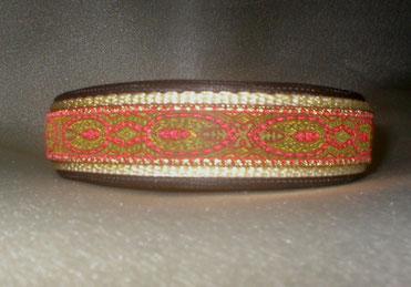 Halsband, Hund, Klickverschluss, 2,5cm breite, Gurtband beige, Borte grün rot gold