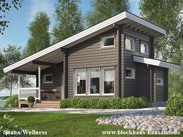 Blockhaus Rotkäppchen als Sauna- und Gästehaus passend zum Wohnhaus mit Pultdach - Bau - Hausbau - Saunahaus