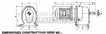 Dimensiones reductor coaxial Jiv serie MS