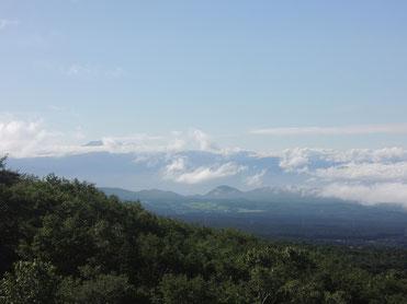 若干わかりにくいですが、写真中央の左側辺りに見える大きな山がそうではないかと思います