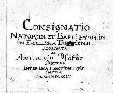 Das Deckblatt des ältesten Kirchenbuches von Tharau 1694  Quelle: Mormonen Film