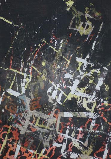 ohne Titel: 70 x 100 cm. Wachsreserviertechnik, Acrylmalerei, Stiftzeichnung, Zeitungscollage. 2012