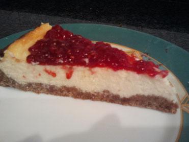 Ración de la tarta de queso