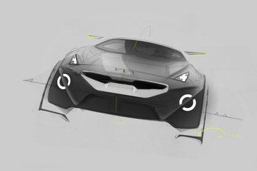 Skizze zum Konzept-Auto Kia Niro-Sketch