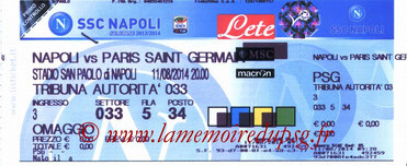 Tickets Naples-PSG  2014-15