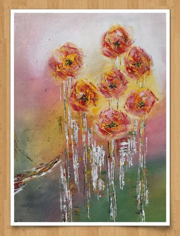 Blütenleuchten  80 x 60cm - Acryl auf Leinwand  - Preis auf Anfrage -