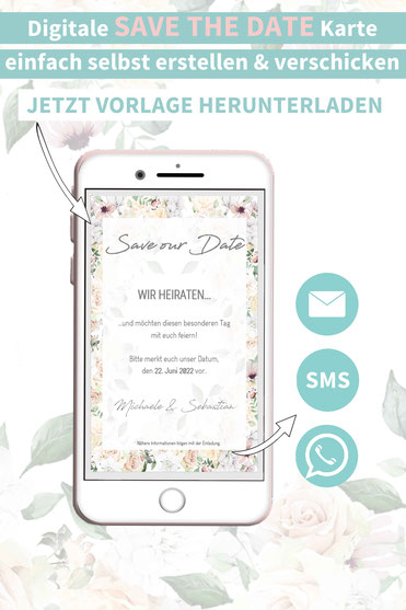 Rosen, floral, romantisch, Save the date, digitale, Handy, selber machen, Vorlage, Whatsapp, elektronische, Hochzeit ankündigen, Hochzeitskarte, Druckvorlage, basteln