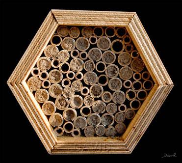 Insektenhotel Insektennisthilfe Nisthilfe inscet hotel nesting aid bug house Mauerbiene mason bee wild bee Wildbiene Pappröhrchen Naturschutzenter