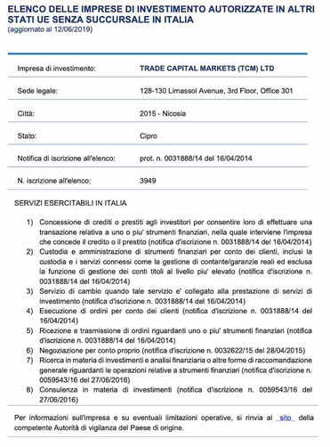 trade.com autorizzata consob licenza forex  Trade Capital Markets (TCM) Ltd