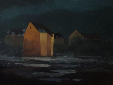 "Martin Guido Becker ""Rotes Haus II"", 2015, Öl/Lwd, 50/70 cm"