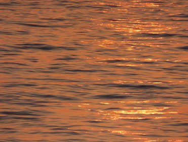 夕方から豪雨でしたので、これは昨日の海面に反射した夕日です。